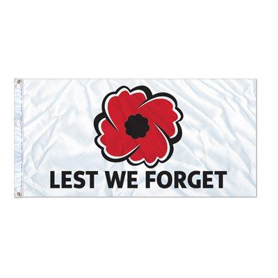 """FLAG POPPY """"LEST WE FORGET""""  6' X 3' GROMMET (2)"""