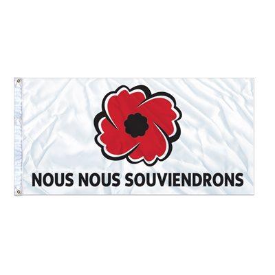 """FLAG POPPY """"NOUS NOUS SOUVIENDRONS"""" 6' X 3' GROMMET (2)"""
