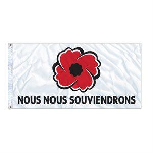 """FLAG POPPY """"NOUS NOUS SOUVIENDRONS"""" 27"""" X 54"""" GROMMET (2)"""