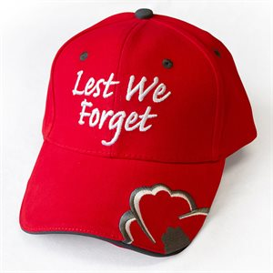 BALL CAP LEST WE FORGET RED