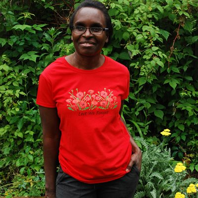 LEST WE FORGET POPPY T-SHIRT LADIES SMALL